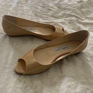 caeae9175254 Jimmy Choo Shoes - Jimmy Choo patent leather peep toe flats